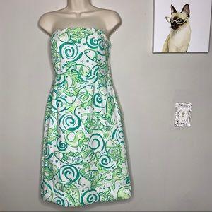 Lilly Pulitzer Strapless Green Koi Fish Dress